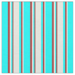 [ Thumbnail: Cyan, Beige, and Brown Striped Pattern Fabric ]