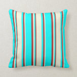 [ Thumbnail: Cyan, Beige, and Brown Striped Pattern Pillow ]