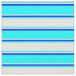 [ Thumbnail: Cyan, Beige & Blue Colored Striped Pattern Fabric ]