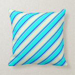 [ Thumbnail: Cyan, Beige & Blue Colored Striped Pattern Pillow ]