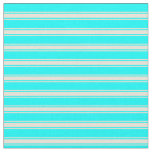[ Thumbnail: Cyan & Bisque Striped/Lined Pattern Fabric ]