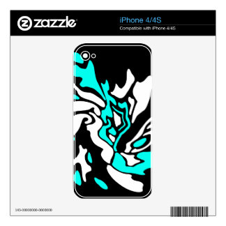 Cyan, black and white decor iPhone 4S skins