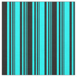 [ Thumbnail: Cyan & Black Colored Lined/Striped Pattern Fabric ]