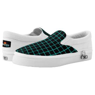 Cyan & Black Grid Slips Ons Printed Shoes