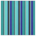 [ Thumbnail: Cyan, Black, Light Blue, Turquoise & Blue Lines Fabric ]