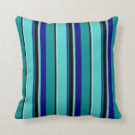 [ Thumbnail: Cyan, Black, Light Blue, Turquoise & Blue Lines Throw Pillow ]