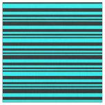 [ Thumbnail: Cyan & Black Lines Pattern Fabric ]