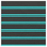[ Thumbnail: Cyan & Black Stripes Pattern Fabric ]