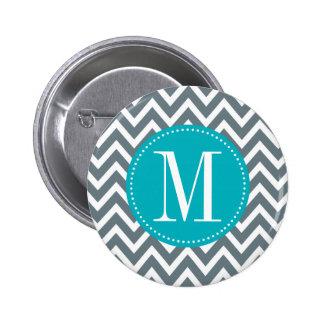 Cyan Blue and Grey Chevron Custom Monogram Buttons