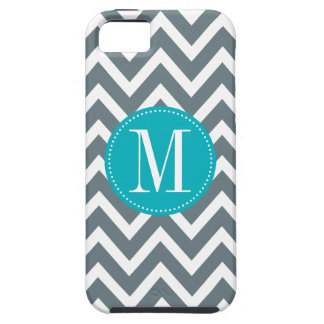 Cyan Blue and Grey Chevron Custom Monogram Cover For iPhone 5/5S