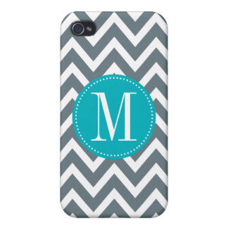 Cyan Blue and Grey Chevron Custom Monogram Case For iPhone 4
