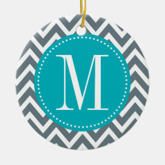 Cyan Blue and Grey Chevron Custom Monogram Ceramic Ornament