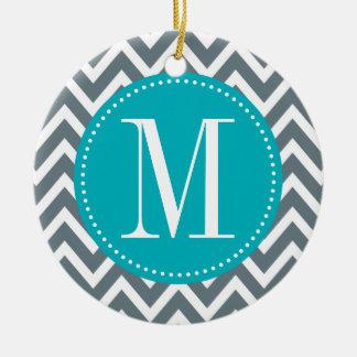 Cyan Blue and Grey Chevron Custom Monogram Double-Sided Ceramic Round Christmas Ornament