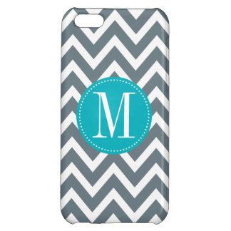 Cyan Blue and Grey Chevron Custom Monogram iPhone 5C Cover