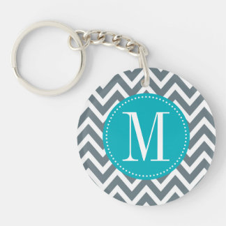 Cyan Blue and Grey Chevron Custom Monogram Keychain