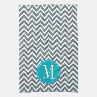 Cyan Blue and Grey Chevron Custom Monogram Towel