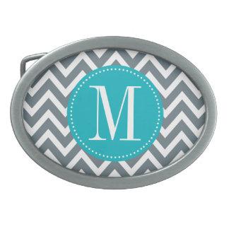 Cyan Blue and Grey Chevron Custom Monogram Oval Belt Buckle