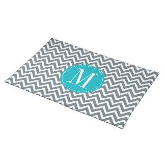 Cyan Blue and Grey Chevron Custom Monogram Placemat