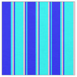[ Thumbnail: Cyan, Blue, and Pink Colored Striped Pattern Fabric ]