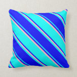 [ Thumbnail: Cyan, Blue, and Pink Colored Striped Pattern Throw Pillow ]