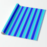 [ Thumbnail: Cyan, Blue, and Pink Colored Striped Pattern Wrapping Paper ]
