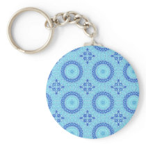 Cyan blue and white kaleidoscope keychain