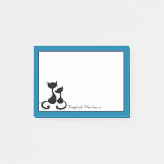 Cyan Blue Black Cats Silhouette Personalized Post-it Notes