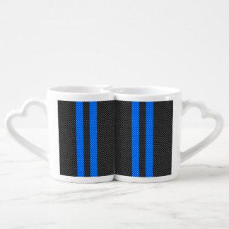 Cyan Blue Carbon Fiber Style Racing Stripes Coffee Mug Set