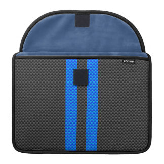 Cyan Blue Carbon Fiber Style Racing Stripes Sleeve For MacBook Pro