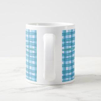 Cyan / Blue checkered (2) Large Mug Jumbo Mug
