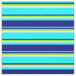 [ Thumbnail: Cyan, Blue, Green, and Light Cyan Colored Pattern Fabric ]