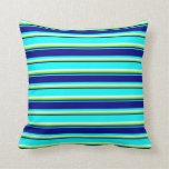[ Thumbnail: Cyan, Blue, Green, and Light Cyan Colored Pattern Throw Pillow ]