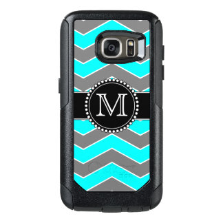 Cyan Blue, Grey, Black Chevron, Monogrammed OtterBox Samsung Galaxy S7 Case