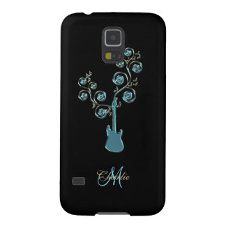 Cyan Blue Guitar Personalized Galaxy S5 Case