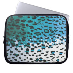 Cyan Blue Leopard Print Pattern Skins Computer Sleeves