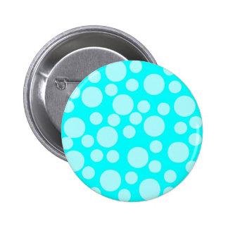 Cyan Blue Modern Dots Pattern Pinback Button