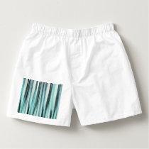 Cyan Blue Ocean Stripey Lines Pattern Boxers