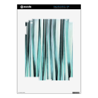 Cyan Blue Ocean Stripey Lines Pattern Decal For iPad 2