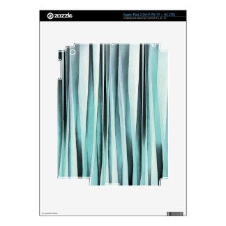 Cyan Blue Ocean Stripey Lines Pattern iPad 3 Decal