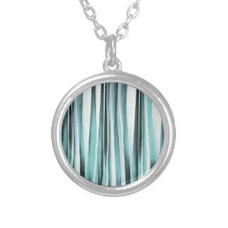 Cyan Blue Ocean Stripey Lines Pattern Silver Plated Necklace