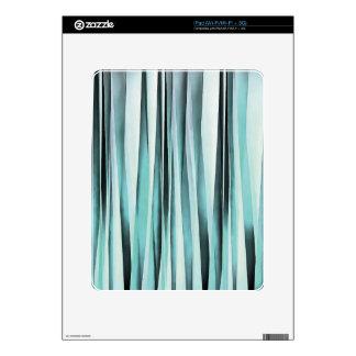 Cyan Blue Ocean Stripey Lines Pattern Skin For iPad