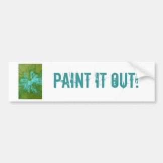 Cyan Blue on Green Paintball Bumper Sticker