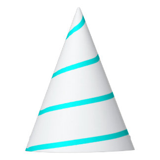 Cyan Blue Outlined White Unicorn Horn Party Hat