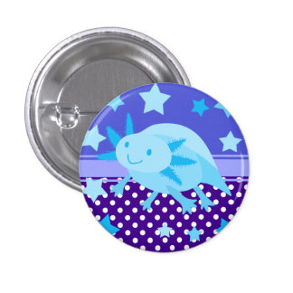 Cyan Blue Star Axolotl Pinback Buttons
