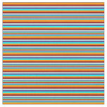 [ Thumbnail: Cyan, Blue, Turquoise, Dark Red, Dark Orange Lines Fabric ]