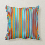 [ Thumbnail: Cyan, Blue, Turquoise, Dark Red, Dark Orange Lines Throw Pillow ]