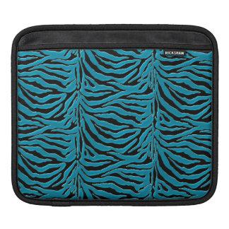 Cyan Blue Zebra Print iPad Sleeve