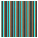 [ Thumbnail: Cyan, Brown, and Black Stripes Pattern Fabric ]