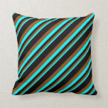 [ Thumbnail: Cyan, Brown, and Black Stripes Pattern Pillow ]