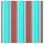 [ Thumbnail: Cyan, Brown & Beige Striped/Lined Pattern Fabric ]